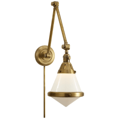 Gale Library Wall Light in Hand-Rubbed Antique Brass with White Glass