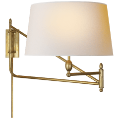 Paulo Large Bracket Swing Arm in Hand-Rubbed Antique Brass with Natural Paper Shade