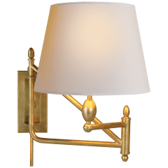Paulo Small Bracket Light in Hand-Rubbed Antique Brass with Natural Paper Shade