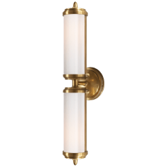 Merchant Double Bath Light in Hand-Rubbed Antique Brass with White Glass