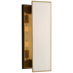 Albertine Medium Sconce in Bronze and Brass with Linen Diffuser