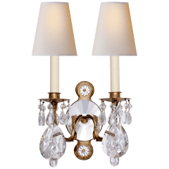 Yves Crystal Double Arm Sconce in Gilded Iron and Crystal with Natural Percale Shades