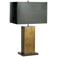 Dixon Tall Table Lamp in Hand-Rubbed Antique Brass with Bronze with Bronze Shade