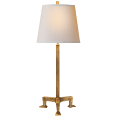 Parish Buffet Lamp in Gilded Iron with Natural Paper Shade
