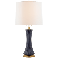Elena Large Table Lamp in Denim with Linen Shade