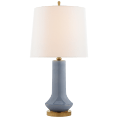 Luisa Large Table Lamp in Polar Blue Crackle with Linen Shade