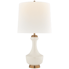 Mauro Large Table Lamp in Ivory with Linen Shade
