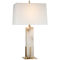 Gironde Large Table Lamp in Alabaster and Hand-Rubbed Antique Brass with Linen Shade