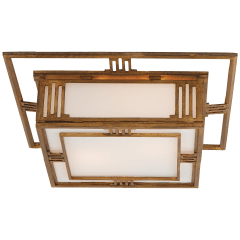Enrique Flush Mount in Gilded Iron with White Glass