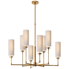 Ziyi Large Chandelier in Hand-Rubbed Antique Brass with Natural Paper Shades