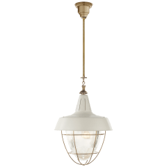 Henry Industrial Hanging Light in Hand-Rubbed Antique Brass with White Shade