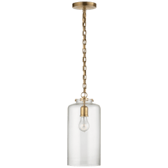 Katie Cylinder Pendant in Hand-Rubbed Antique Brass with Clear Glass