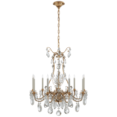 Yves Chandelier in Gilded Iron with Crystal