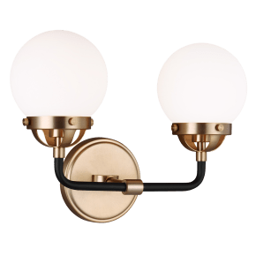 Cafe Two Light Wall / Bath Satin Brass Bulbs Inc