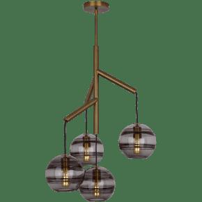 Sedona Single Chandelier Single Transparent Smoke Aged Brass no lamp
