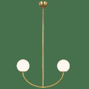 Galassia Two Light Linear Chandelier Burnished Brass