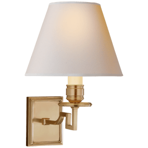Dean Single Arm Sconce in Natural Brass with Natural Paper Shade