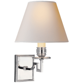 Dean Single Arm Sconce in Polished Nickel with Natural Paper Shade