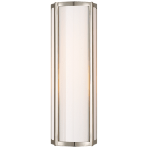 Basil Small Linear Sconce in Polished Nickel with White Glass