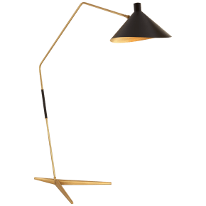 Mayotte Grande Arc Floor Lamp in Hand-Rubbed Antique Brass with Black Shade