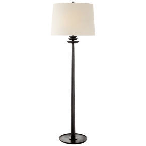 Beaumont Floor Lamp in Aged Iron with Linen Shade