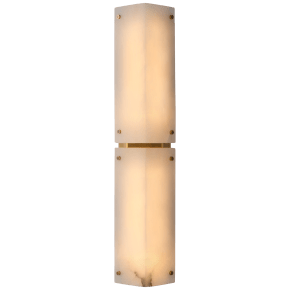 """Clayton 25"""" Sconce in Alabster and Hand-Rubbed Antique Brass"""
