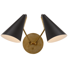 Clemente Double Sconce in Hand-Rubbed Antique Brass with Matte Black Shades