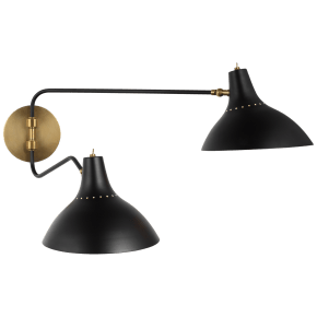 Charlton Medium Double Wall Light in Black