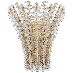 Serafina Medium Sconce in Hand-Rubbed Antique Brass with Crystal