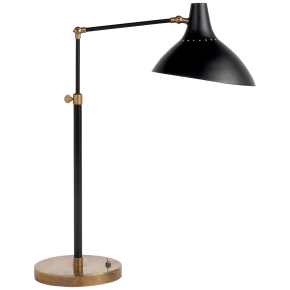 Charlton Table Lamp in Black and Hand-Rubbed Antique Brass