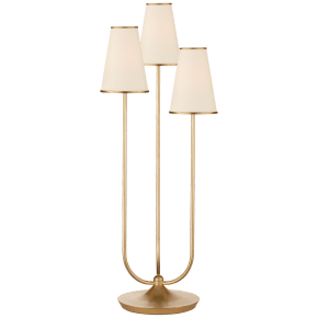 Montreuil Triple Table Lamp in Gild with Linen Shades