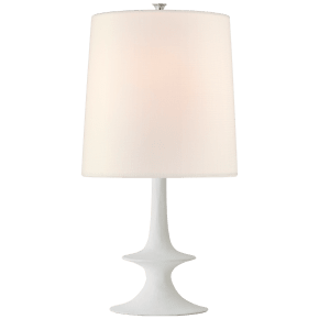 Lakmos Medium Table Lamp in Plaster White with Linen Shade