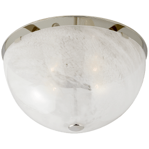 Serein Large Flush Mount in Polished Nickel with White Strie Glass