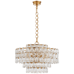Liscia Medium Chandelier in Gild with Crystal