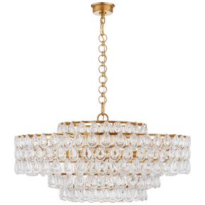 Liscia Large Chandelier in Gild with Crystal