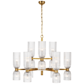 Asalea Medium Two-Tier Chandelier in Hand-Rubbed Antique Brass with Clear Glass