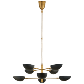 Graphic Large Two-Tier Chandelier in Hand-Rubbed Antique Brass with Black Shades