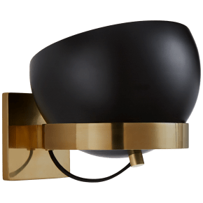 Lightwell Small Rotating Sconce in Soft Brass with Black Shade