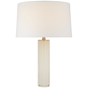 Fallon Medium Table Lamp in White Glass with Linen Shade