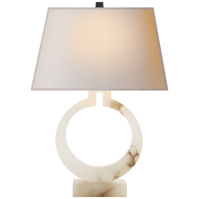 Ring Form Large Table Lamp in Alabaster with Natural Paper Shade