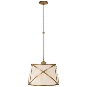 Grosvenor Single Hanging Shade in Antique-Burnished Brass with Linen Shade