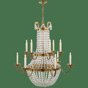 Paris Flea Market Grande Chandelier in Antique-Burnished Brass with Seeded Glass