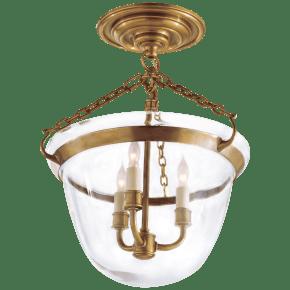 Country Semi-Flush Bell Jar Lantern in Antique-Burnished Brass