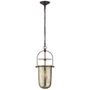 Lorford Tall Smoke Bell Lantern in Aged Iron with Mercury Glass