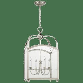 Arch Top Medium Lantern in Polished Nickel
