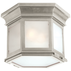 Club Small Hexagonal Flush Mount in Antique Nickel with Frosted Glass
