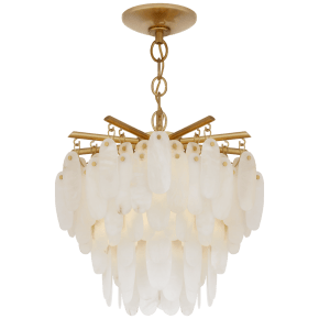 Cora Medium Semi-Flush Mount in Antique-Burnished Brass with Alabaster