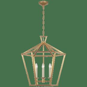 Darlana Large Hexagonal Lantern in Antique-Burnished Brass