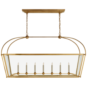 Plantation Large Linear Pendant in Antique-Burnished Brass with Clear Glass