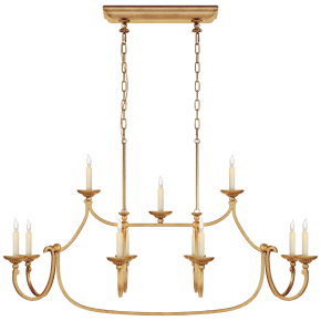 Flemish Large Linear Pendant in Gilded Iron